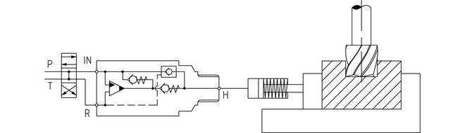Typischer Hydraulikkreislauf für eine Spannvorrichtung - Booster Druckverstärker